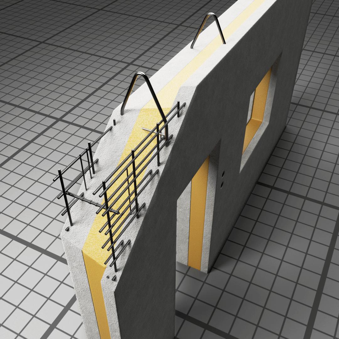Layered wall with insulation - fotografia\